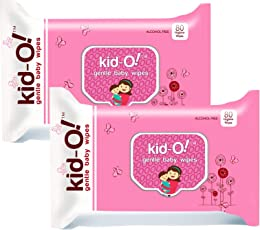 Kido Gentle Baby Wet Wipes with Aloe Vera, 15 cm x 20 cm, Pack of 2 (Kido Pink, 80 * 2=160 Count)