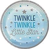 One Twinkle Twinkle Little Star Boy Paper Dinner Plates 8-Pieces, 9-Inch Diameter, Multicolour