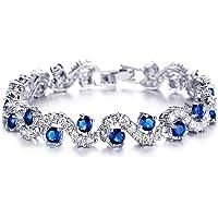 Shining Diva Fashion Royal Blue Crystal CZ Silver Plated Stylish Bracelet Gift for Girls Women(9576b)