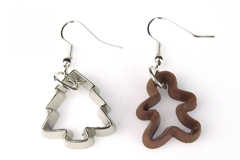Moldes pendientes cortador de galletas de jengibre marrón plata abeto de Navidad para hornear