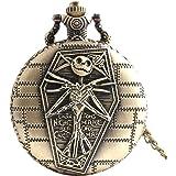 Orologio da tasca, teschio - unico, stile vintage, antichizzato, pendente a forma rotonda