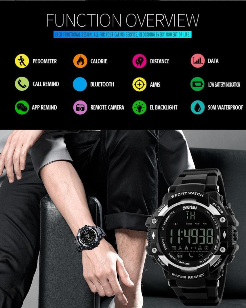 Reloj Deportivo Fitness Tracker SmartWatch con Podómetro Resistente al agua (5ATM) Control Remoto de Cámara Reloj para… 3