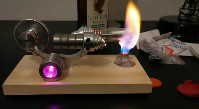 KOBWA Motor de aire caliente Stirling Motor modelo educativo juguete colorido LED /único generador de volante 20,5 x 10 x 9 cm
