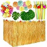 LATERN 109 st Hawaiian Luau festdekorationsset, 9 fot Hawaiiansk bordkjol, palmblad, hawaiianska blommor, flerfärgade paraply