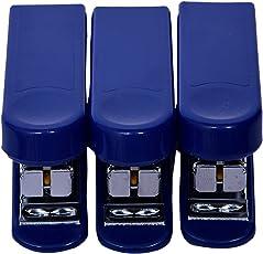 Kangaro Mini-10 Stapler - Pack of 3 for School or Office Use-Blue