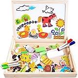 Cooljoy Fast 100 Stück Farmmuster Holzpuzzle Tafel Magnetische Puzzle, Doppelseitige Puzzle Tafel Lernspielzeug Staffelei Doodle Lernspiel Spiel Pädagogische Lernspiel, Geschenk für Kinder …