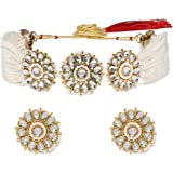 Zaveri Pearls Gold Tone Kundan & Pearls Flowers Choker Necklace & earring Set For Women-ZPFK9814