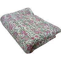 """Handicraftworld King Size Kantha Quilt, Kantha Block Print Blanket, Bed Cover, Bedspread, Bohemian Bedding 90108"""""""
