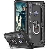 LeYi för Motorola Moto G8 Power Lite skal, ringhållare militärklass skyddande silikon stöttålig tuff rustning hårt mobiltelef
