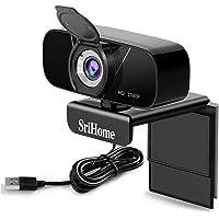 SriHome Webcam PC Full HD 1080P con microfono stereo, Webcam portatile per PC, Webcam USB 2.0, streaming telecamera…