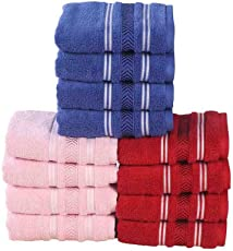 100% Genuine Cotton Towel Terry Pile Quality Pack 12 Piece Face Towel Set 550 GSM (Blue, Pink & Maroon)