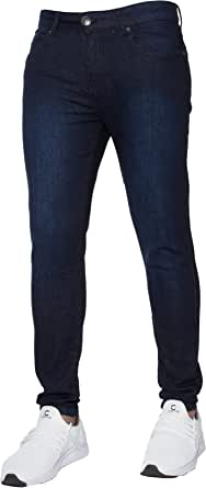 Enzo New Mens Designer Stretch Super Skinny Denim Jeans All Waist Dark Stonewash 28 W X 30L