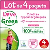 Love & Green Couches Culottes Taille 4 (8-15 kg) Pack 1 Mois (80 Culottes)