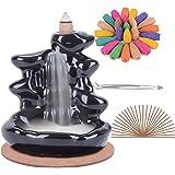 Soporte de incienso de reflujo de cerámica hecho a mano Quemador de incienso de cascada, adorno de aromaterapia Decoración pa