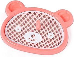SRI Portable Pet Bear-Shape Dog Toilet Tray with Column Urinal Bowl (Pink/Peach)