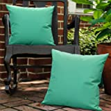 Lewondr Waterproof Outdoor Throw Pillow Cover, 2 Pack Solid PU Coating Throw Pillow Case UV Protection Garden Cushion…
