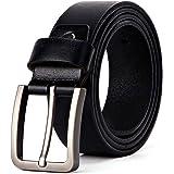 XIANGUO, cintura da uomo in pelle per jeans e completo, con fibbia ad ardiglione, stile antico, casual, colore nero, larghezz