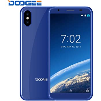 Smartphone in Offerta, DOOGEE X55 Dual SIM Free Telefonia Mobile, Android 7.0, 5.5 Pollici HD IPS Schermo, 18:9 Aspect Ratio - 1GB RAM + 16GB ROM, Doppia fotocamera posteriore da 8 MP - impronta digitale - Blu