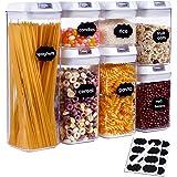 SUCHDECO Lufttät behållare för flingor uppsättning av 7, BPA-fri matförvaringsbehållare med lock, plastbehållare för spaghett