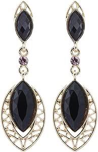 Clip su orecchini - placcato oro con pietre ovali nere - Velma di Bello London