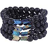 Lava Rock Aromatherapy Anxiety Essential Oil Diffuser Bracelet Set for Women Men