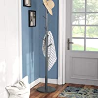 Vlush Coat Rack Hanger, Wooden Coat Rack Free Standing, Coat Hat Tree Coat Hanger Holder Stand with Round Base for Clothes,Scarves,Handbags,Umbrella-(8 Hooks, Gray)
