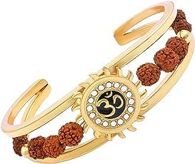 Rudraksh American Diamond Gold Meena Om Sun Cuff Kada Bracelet for Men/Rudraksha Kada with American Diamond work by RUDRA DIVINE