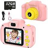 Cámara Digital para Niños Juguetes de Niña Regalos para Niños Pantalla HD de 2 Pulgadas 1080P Tarjeta de 32GB TF Regalos de J