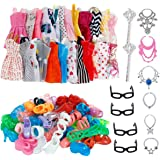 32 PCS Doll Accessories, 10x Mix Cute Dresses, 10x Shoes, 4x Glasses, 6x Necklaces, 2x Fairy Sticks Dress Clothes For Barbie