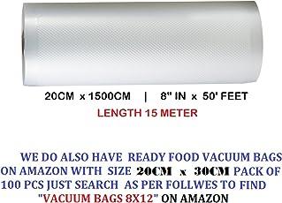 """Vacuum Packers 8"""" X 50' Food Vacuum Sealers Roll Food Grade,90 Microne & Microwaveable."""