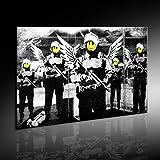 Banksy Street Art Graffiti Leinwand Bild von artfactory24 fertig auf Keilrahmen - Kunstdrucke, Leinwandbilder, Wandbilder, Poster, Gemälde, Pop Art Deko Kunst Bilder