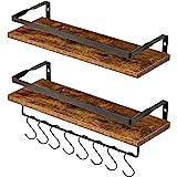 IBUYKE Floating Shelves, Wall Shelf Outdoor, 42x15x8 cm, Shelving Unit for Wall, Towel Holder 8 hooks, Kitchen Spice Rack, St