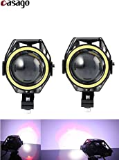 Casago CSU7M2P U7 CREE LED Fog Light with Hi/Lo Flashing Flood Beam and White Angel Eyes Ring for Cars and Motorcycles (15W)