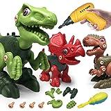 LAPPAZO Dinosaurios Juguetes para Niños, DIY Montaje y Desmontaje de Dinosaurios con Taladro Eléctrico Bricolaje, Regalos Cre