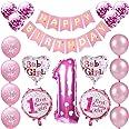 Kindergeburtstag Deko Mädchen 1 Jahr Ballons, 1. Geburtstag Dekorationen für Mädchen,Deko 1 Geburtstag Ballons,erst Geburtsta