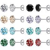 AoedeJ 8 Pairs Sterling Silver Stud Earrings Round Cubic Zirconia Earrings Set Hypoallergenic Earrings for Women Girls