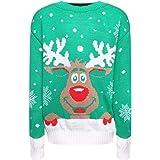 Fabricado por Purl para niños y niñas, Navidad retro, Rudolph Pom Vintage - Sudadera de Navidad para niños