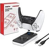 innoAura Estación de Carga portátil para mandos PS5, Cargador Dual de mandos PS5 con 2 Puertos de Carga Tipo C extraíbles (Bl