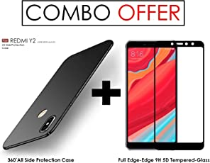 WOW Imagine Double Dip Anti Slip Super Slim 360 Degree Hard Hybrid PC All Angle Protection Matte Back Cover for Xiaomi Redmi Y2(Pitch Black)