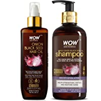WOW Skin Science Onion Hair Oil With Black Seed Oil Extracts + Onion Oil Shampoo Hair Care Kit - Net Vol 500mL