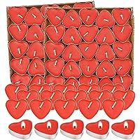 Bougie Chauffe Plat,Bougies 100 PièCes,Bougie Decorative,Bougie Rouge Romantique,Bougie Coeur,Pour La Saint-Valentin…