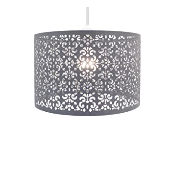 Chandelier chic ceiling light pendant shade crystal droplet chandelier chic ceiling light pendant shade crystal droplet fitting easy fit large metal shade dark grey amazon lighting mozeypictures Image collections