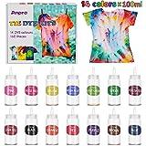 Anpro 160 PCS Tie Dye Kit,14 Colores Tintes Textiles Brillantes Tie Dye,100 ML * 14 Botella, Adecuado para Arte de Bricolaje
