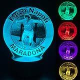 Calcio Napoli Maradona lampada led da tavolo notturna arredo decorazione cameretta bambino e tifosi del napoli