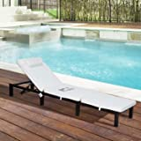 Outsunny Garden Outdoor Rattan Furniture Patio Sun Lounger Recliner Reclining Chair Bed FIRE RESISTANT Sponge