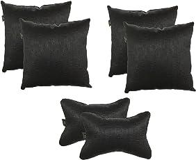 Lushomes Textured Blackout Black Car Set (4 pcs Cushions & 2 pcs Neck rest Pillow)