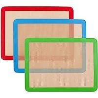 Lot de 3 tapis de cuisson en silicone 42cm x 27 cm - Antidérapant lavable et réutilisable - Non toxique - Flexible et…