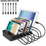 Station de Charge 6 port USB Chargeur Multiple Station Recharge Support Charge Station Chargement pour iPhone iPad Samsung 6 Câbles court (2 Câbles pour Apple, 2 Câbles Android, 2 Câbles USB C) Noir