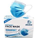 Bildos Melt blown 3 Layer Disposable Mask with Nose pin and Ultrasonic Sealed Ear loop-100 unit in box (blue