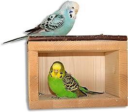 Süßes Vogelhäuschen, Schlafhaus aus Holz für den Vogelkäfig oder Voliere | Geliebt als Schlafplatz und Schutzhaus von Wellensittich Agaporniden Nymphensittich | Vogel Käfig Zubehör Vogelhaus